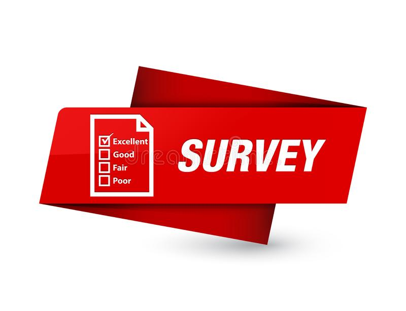 Survey (questionnaire icon) premium red tag sign stock illustration
