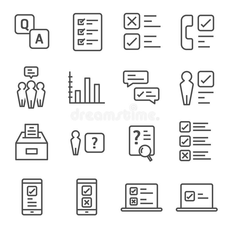 Survey and Questionnaire vector icon set. Included the icons as checklist, poll, vote, mobile, online survey, phone interview, res vector illustration