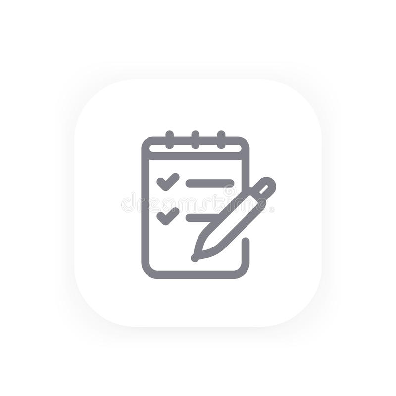 Survey, quiz line icon stock illustration