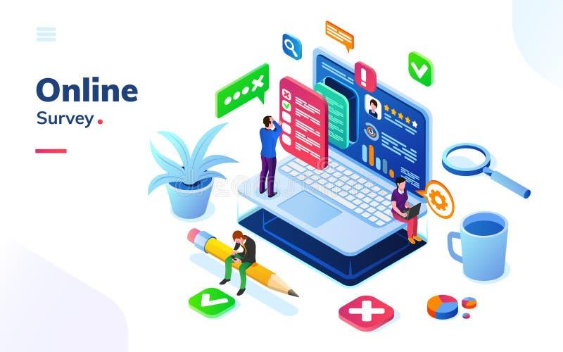 Survey or review, online social feedback or voting vector illustration