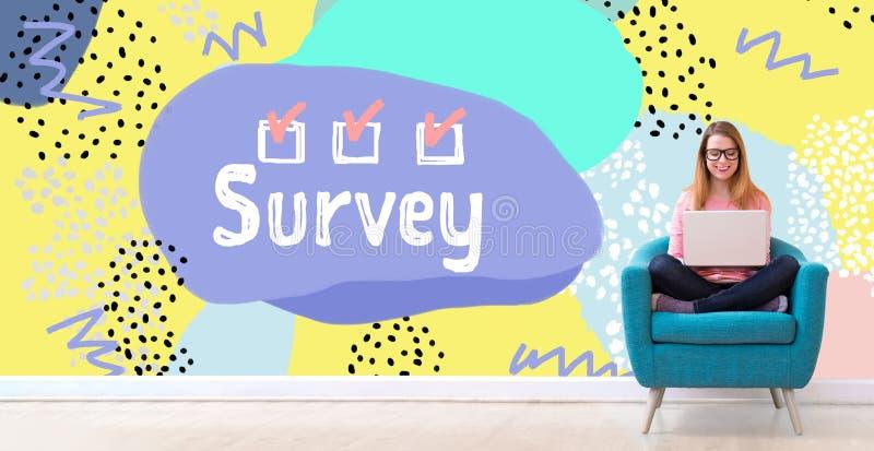 Survey with woman using a laptop stock photos