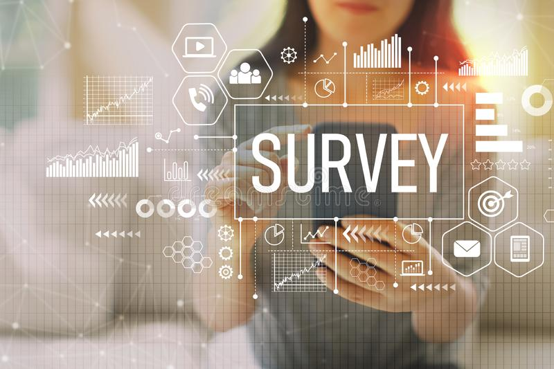 Survey with woman using a smartphone royalty free stock photos