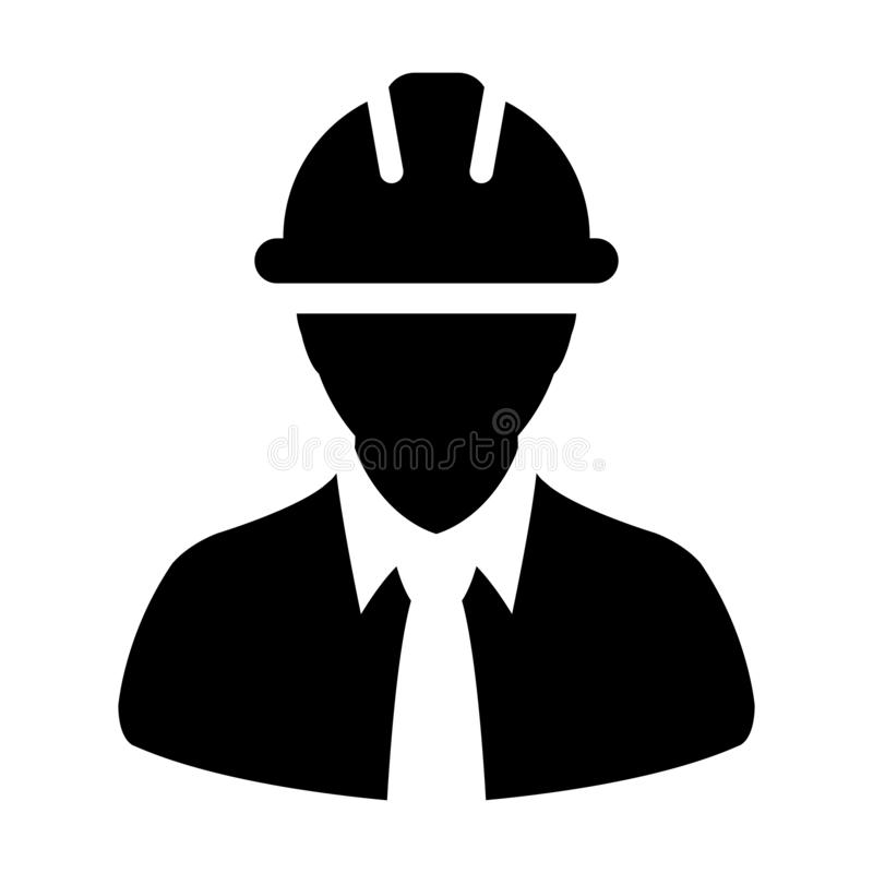 Survey worker icon vector male construction service person profile avatar with hardhat helmet in glyph pictogram vector illustration