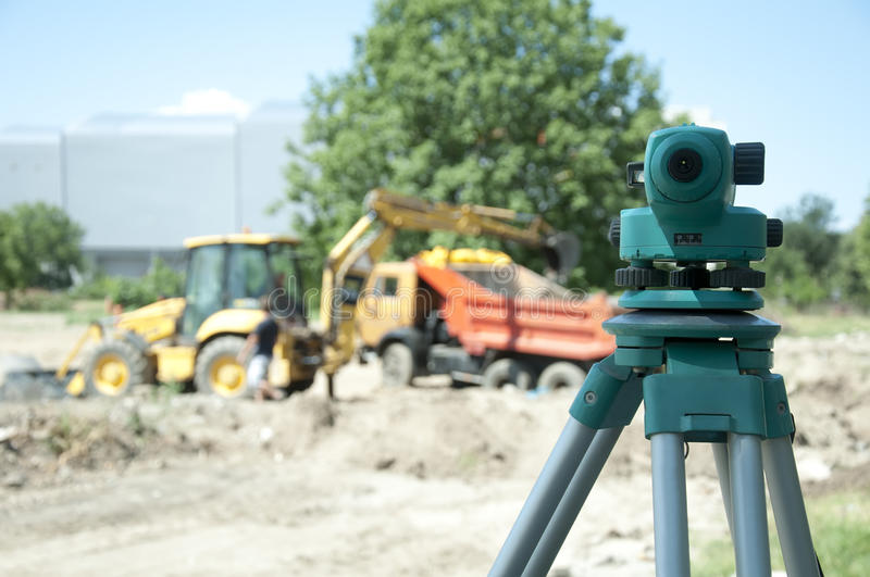 Surveying equipment to the construction site royalty free stock photography