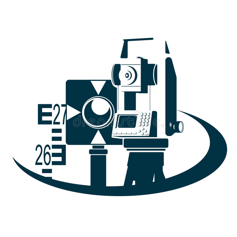 Surveying and registration of land plots. Geodesy and land registration symbol vector illustration