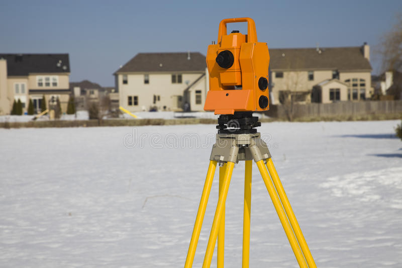 Surveying suburban area stock image