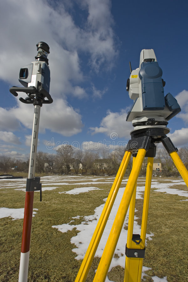 Surveying during winter time stock photo