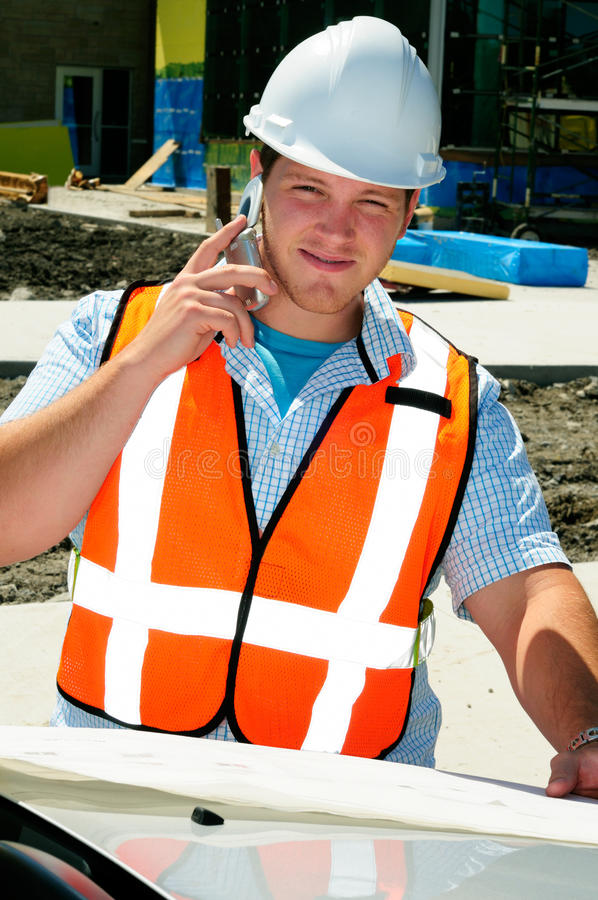 Surveyor Cellphone Royalty Free Stock Photography