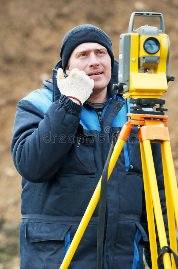 Download Surveyor Works With Theodolite Stock Image - Image: 19483297