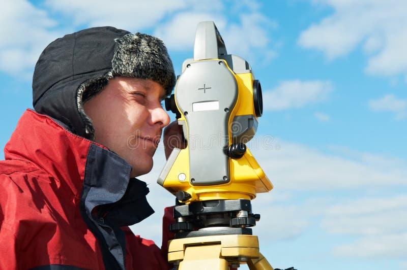 Download Surveyor Works With Theodolite Stock Image - Image: 19990089