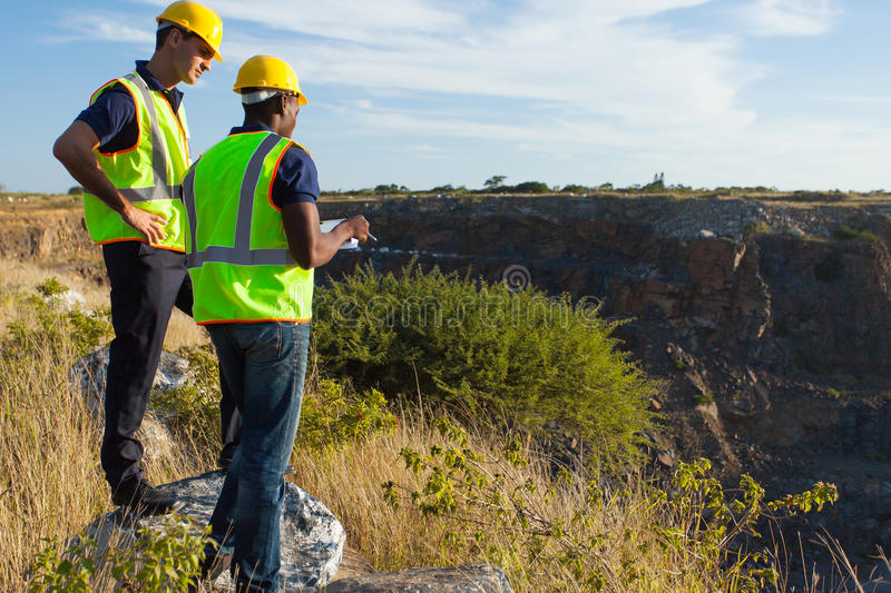 Surveyors mining site royalty free stock photo
