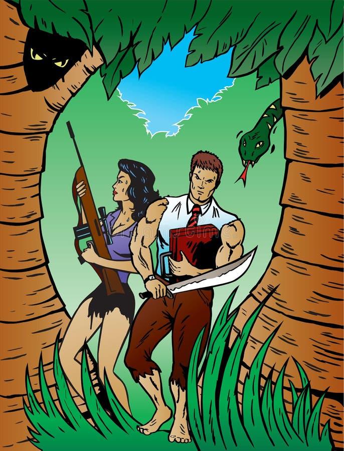 Survie dans la jungle illustration de vecteur