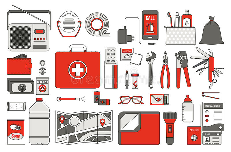Survival emergency kit stock illustration