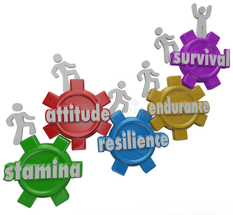 Survival Endurance Attitude Stamina Resilience People Enduring D stock illustration