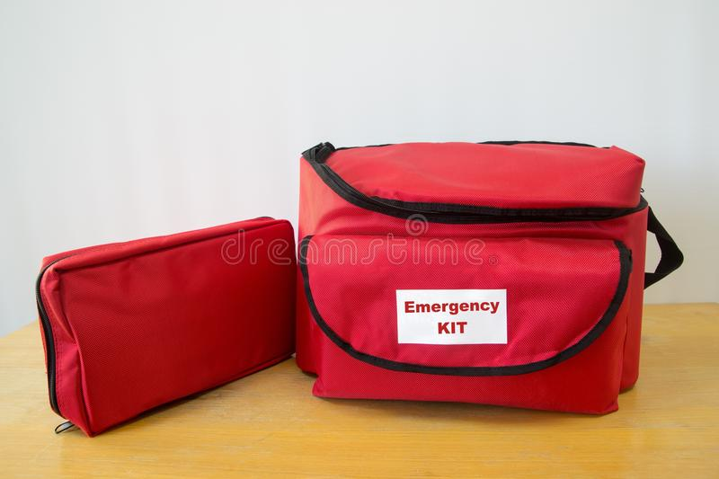 Survival kit. Emegency kit for survival in case of disaster with first aid kit stock images