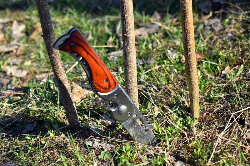 Survival sharp steel knife stuck in the ground royalty free stock photo
