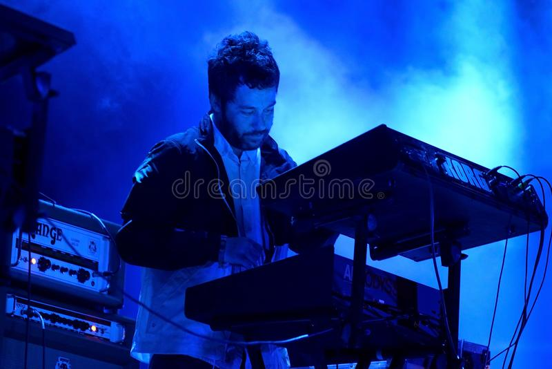 Survive electronic music band perform in concert at Primavera Sound 2017. BARCELONA - JUN 1: Survive electronic music band perform in concert at Primavera Sound stock photography