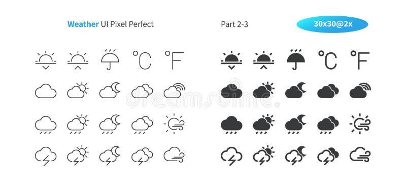 Survivez au pixel d'UI le vecteur Bien-ouvré que parfait rayent légèrement et la grille 2x solide des icônes 30 pour des graphiqu illustration stock