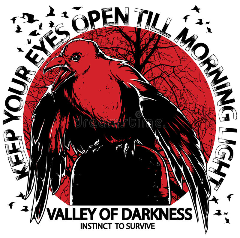 Survivor. The crow will keep the eyes open stock illustration