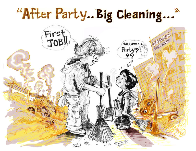 Survivors children big cleaning clear all. Girl say with young brother is first job in Concept after war but I want to convey a positive and creative uses for royalty free illustration