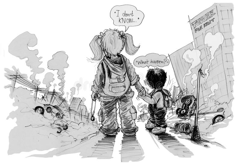 Survivors children looking Result of conflict. Political cartoon , Key visual is sister and brother shocked and wondered why the city are destroy?, Present is royalty free illustration