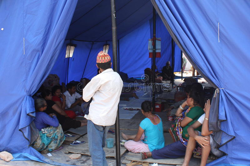 Survivors in an Emergency Relief Tent Kathmandu, Nepal after 2015 Earthquake stock image