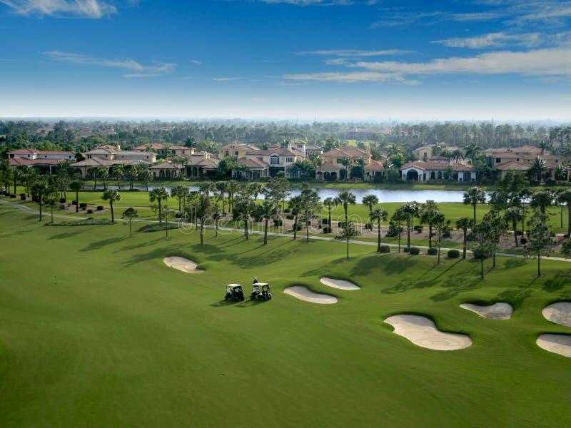 Survol de terrain de golf de la Floride photo libre de droits