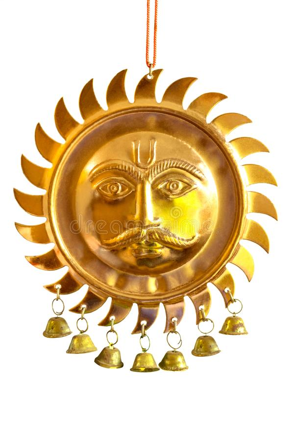 Surya / Sun God Face Hinduism Elegant Copper Plated Metal Wall Hanging-Decor Piece royalty free stock photos