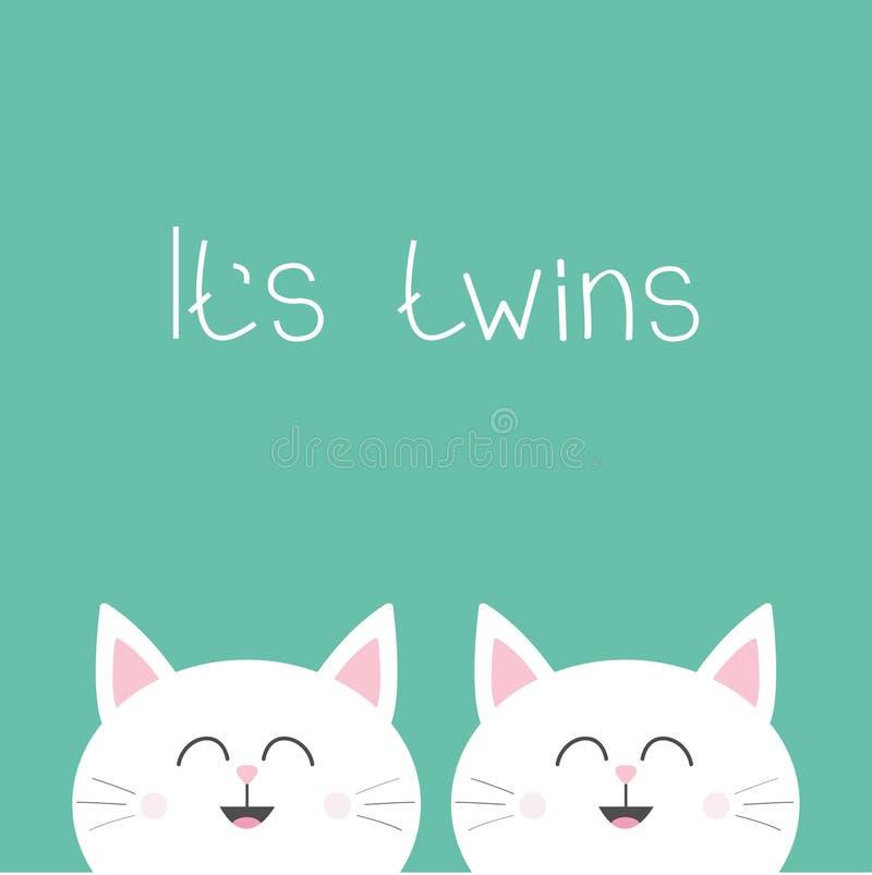 Sus gemelos dos gatos gemelos lindos Icono principal de la familia de los pares del gato Juego de caracteres divertido de la hist stock de ilustración