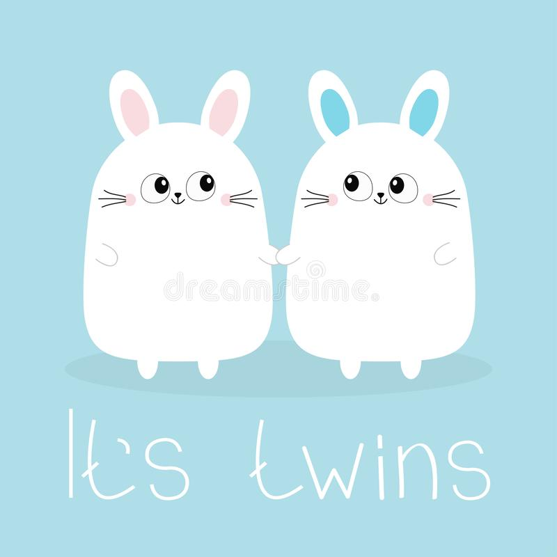 Sus gemelos Muchacha del muchacho Dos manos que se sostienen determinadas gemelas lindas del conejo de conejito Icono principal d stock de ilustración