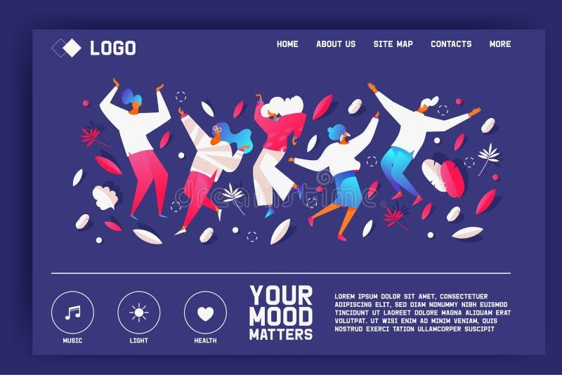 Sus materias del humor Página de aterrizaje con la gente del baile en pendientes brillantes en color azul El verdor y los puntos  stock de ilustración