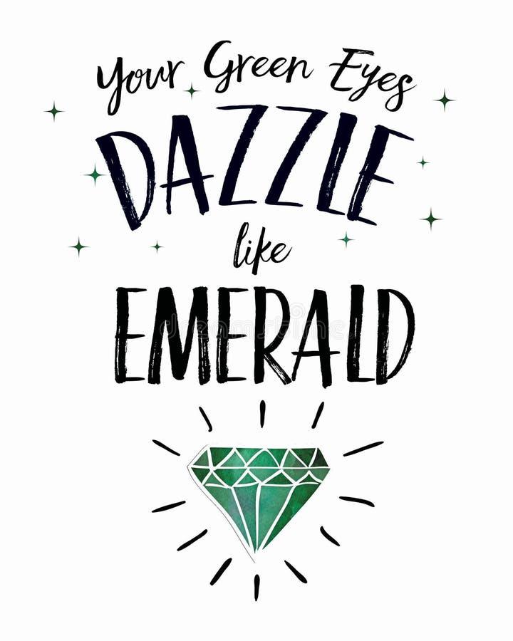 Sus ojos verdes deslumbran como esmeralda libre illustration
