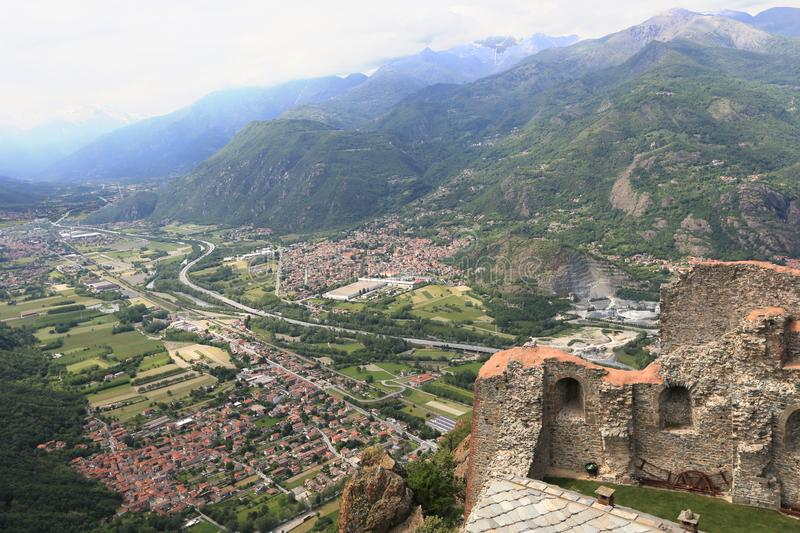 Susa valley of Piedmont. Susa valley viewed from Sacra di San Michele of Piedmont, Italy stock image