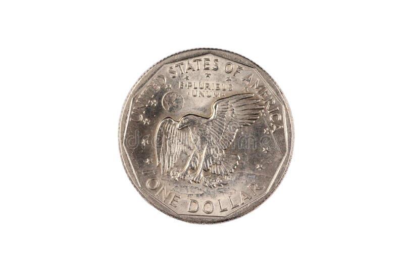Susan B Anthony American één dollarmuntstuk dat op wit wordt geïsoleerd stock foto's