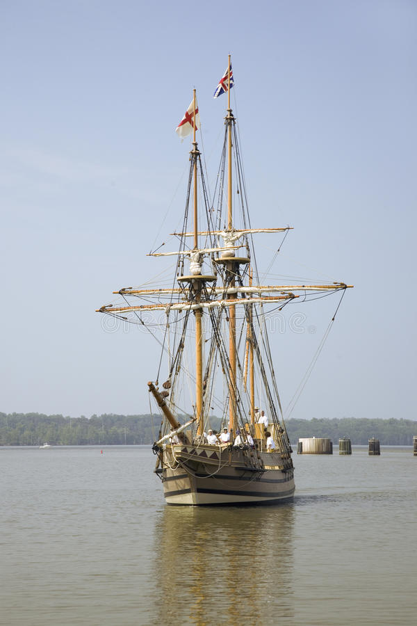 The Susan Constant. Godspeed and Discovery, re-creations of the three ships that brought English colonists to Virginia in 1607, flying the English and Union royalty free stock photography