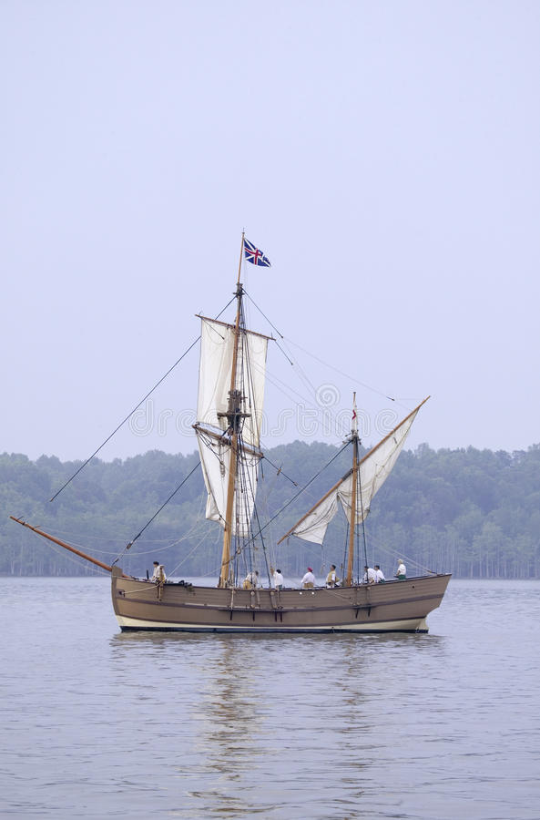 The Susan Constant. Godspeed and Discovery, re-creations of the three ships that brought English colonists to Virginia in 1607, flying the English and Union royalty free stock photo