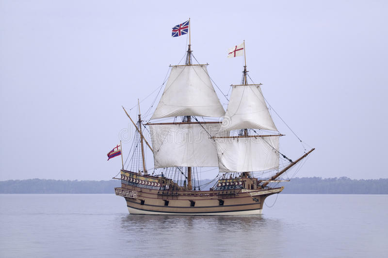 The Susan Constant,. Godspeed and Discovery, re-creations of the three ships that brought English colonists to Virginia in 1607, flying the English and Union royalty free stock images