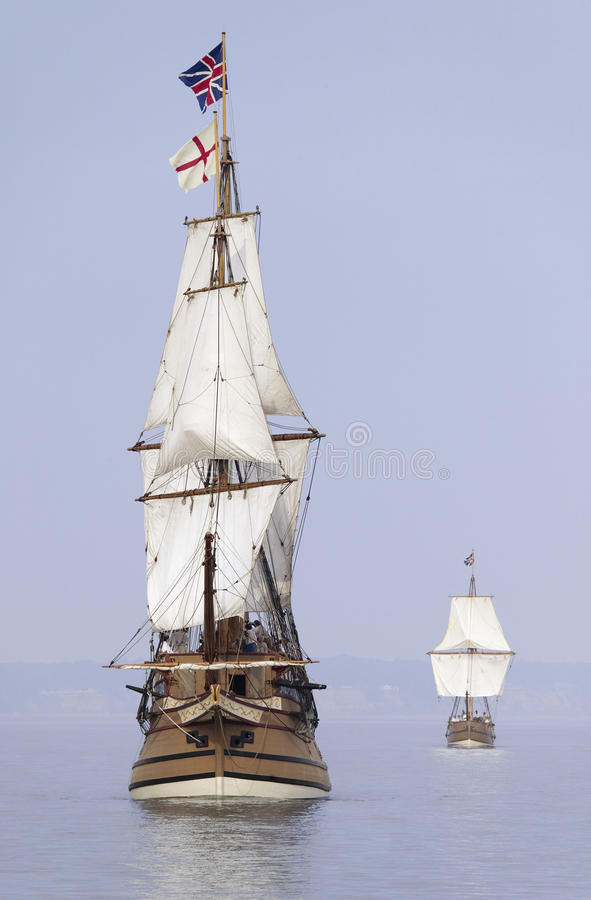 The Susan Constant, Godspeed. And Discovery, re-creations of the three ships that brought English colonists to Virginia in 1607, flying the English and Union stock photo
