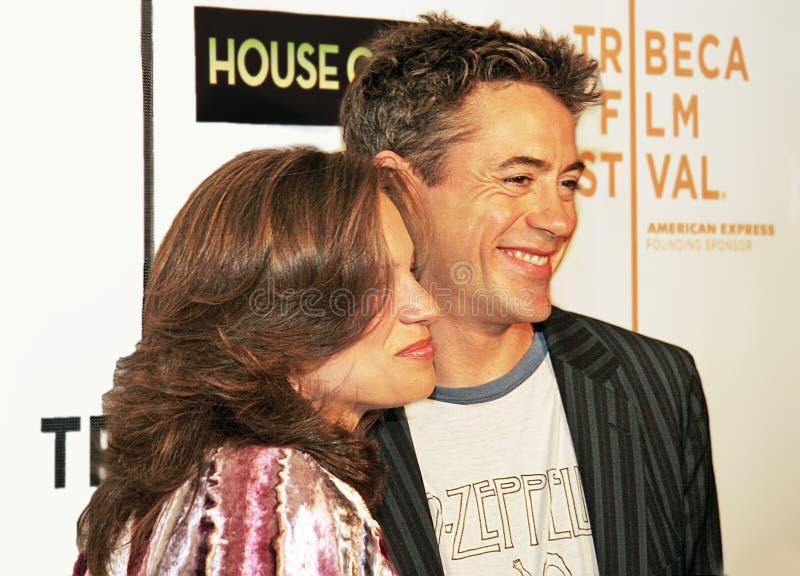 Susan Downey en Robert Downey Jr stock afbeeldingen