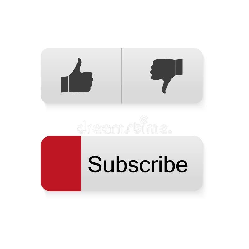 Suscriba el botón Iconos coloridos para el sitio o el canal Botones fijados Icono del JUEGO stock de ilustración