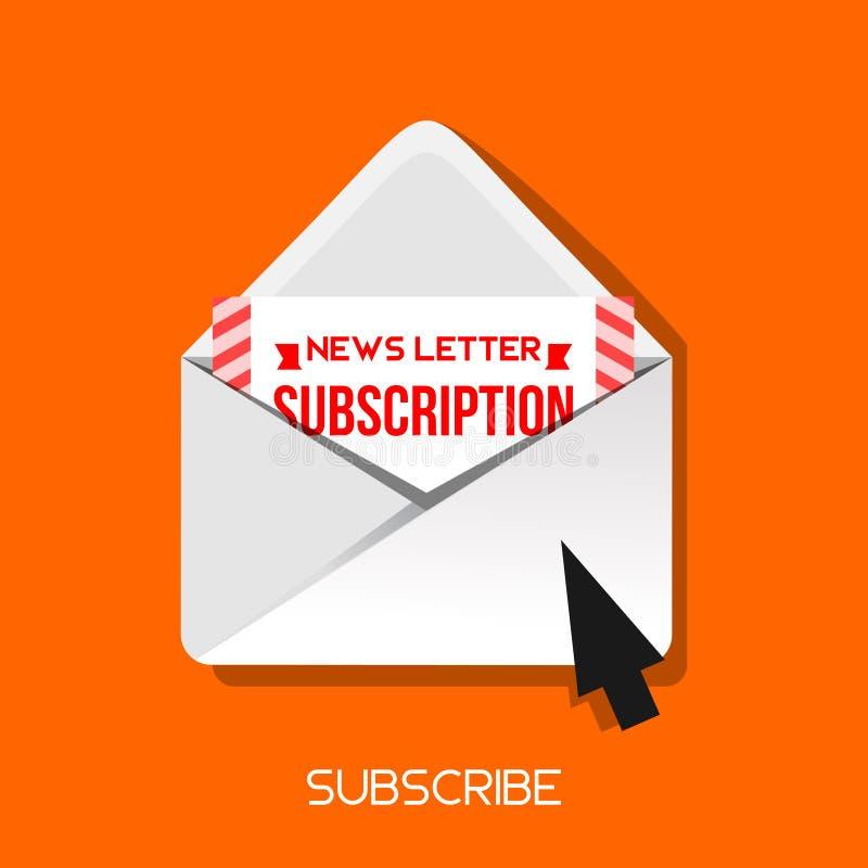 Suscriba el icono del correo electr?nico del hoja informativa del icono del correo electr?nico con el cursor en fondo cuadrado am ilustración del vector
