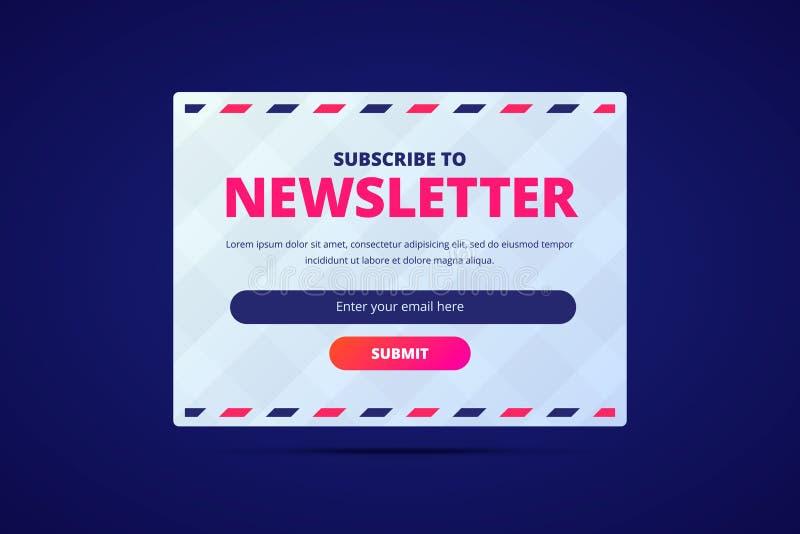 Suscriba a la tarjeta del hoja informativa con la entrada del correo electrónico y someta el botón stock de ilustración