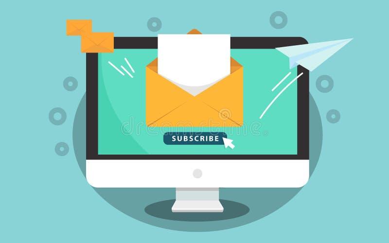Suscriba para el concepto del hoja informativa Suscriba el botón con el cursor en la pantalla de ordenador Abra el mensaje con el libre illustration