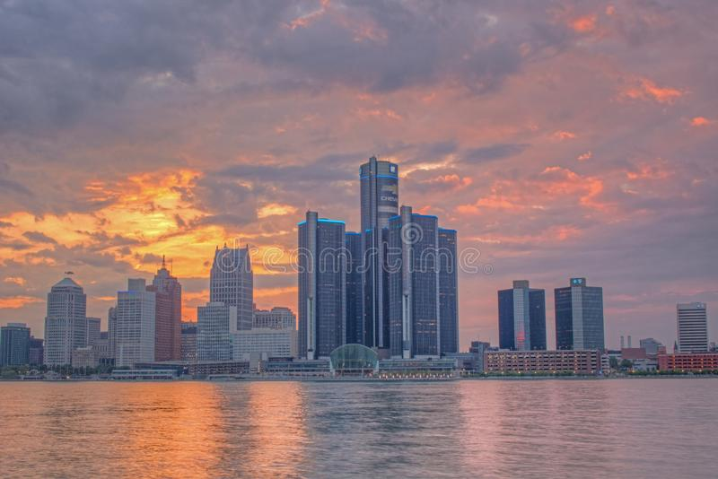 Suset Behind Detroit, Michigan Skyline From Windsor, Ontario stock photo