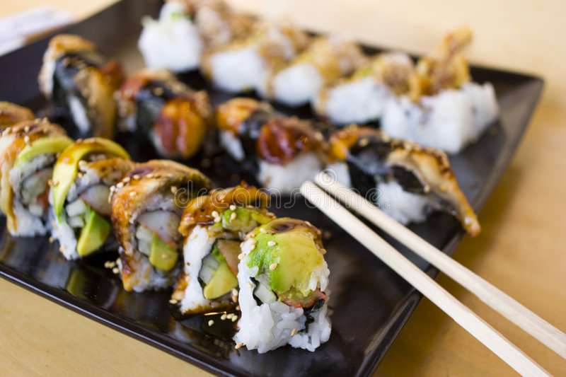 Download Sushi 1 stock photo. Image of asian, slab, tradition, background - 1399648