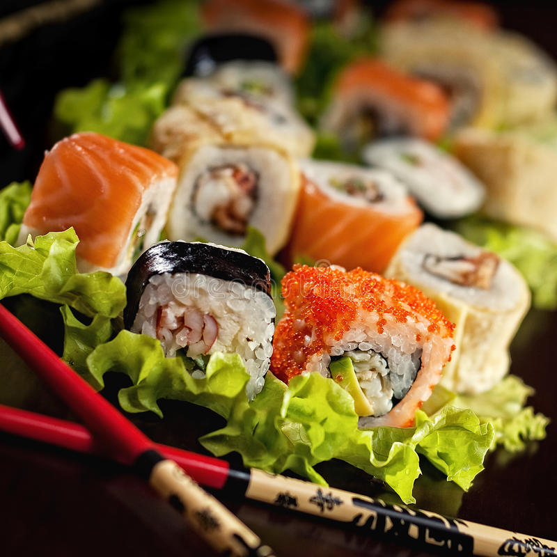Sushi. Is popular japanese dish royalty free stock image