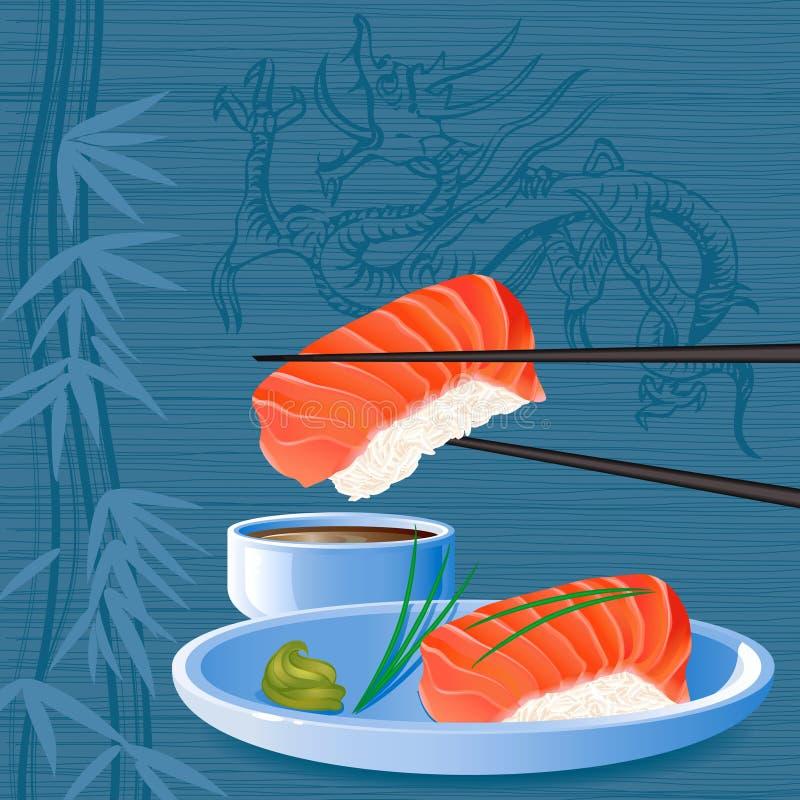 Sushi. Salmon nigiri sake sushi on the background with silhouette of dragon - vector illustration vector illustration