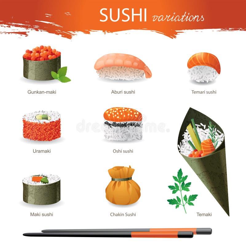 Sushi. Great set of sushi variations stock illustration