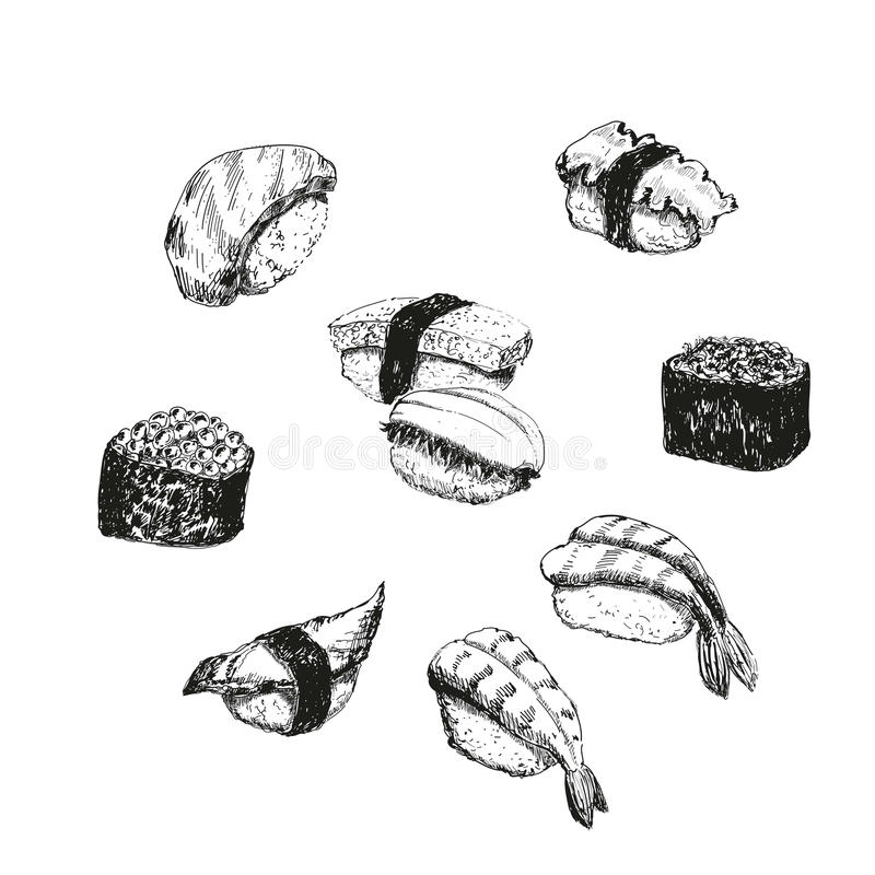 Sushi. Hand drawn illustrations. This is file of EPS8 format vector illustration