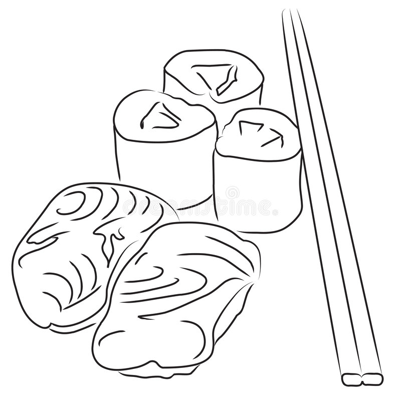Sushi. Illustration of japanese sushi in black and white. Also available in color version You can find other food illustrations in b/w in my portfolio royalty free illustration